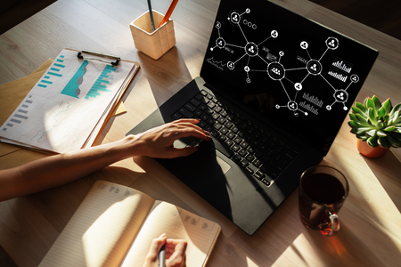 Organisational structure, business model, HR, Human resource management. Social network. 免版税图像