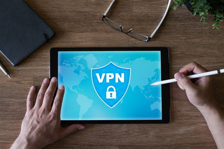 VPN - Virtual perivate network. Internet conncetion privacy concept. Stock Photo
