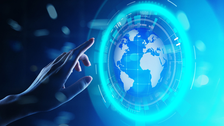 Earth hologram Planet Worldwide Business Internet Telecommunication and modern technology concept on virtual screen.