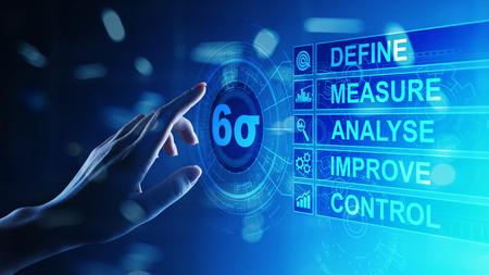Six Sigma, Lean Manufacturing, Qualitätskontrolle und Konzept zur Verbesserung industrieller Prozesse.