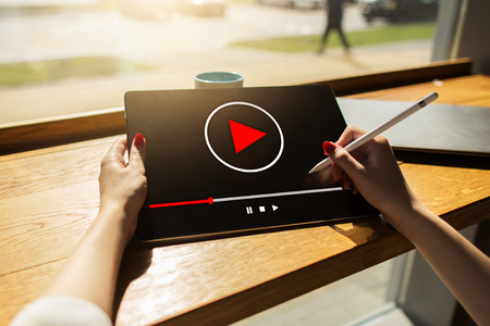 Video player window on device screen. Internet marketing and advertising concept. Stock Photo - 111291562