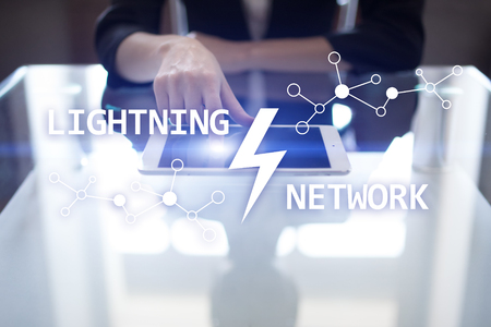 Lightning network - second layer payment protocol that operates on top of a blockchain. Bitcoin, cryptocurrency, internet payment. Stock Photo