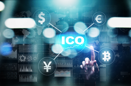 ICO - Initial coin offering, Fintech, Financial and cryptocurrency trading concept on virtual screen. Business and technology. Standard-Bild - 112022147
