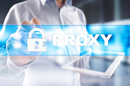 Proxy, VPN, Secure internet connection concept on virtual screen.