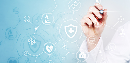 Medicine doctor with modern computer, virtual screen interface and icon medical network connection. Medical technology network and health care concept.