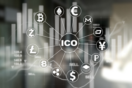 ICO - Initial Coin Offering. Cryptocurrency, FINTECH, Financial market and trading. Investment. Business and Technology concept.