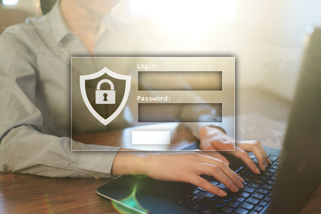Access windows with login and password. Cybersecurity and data protection concept on virtual screen.