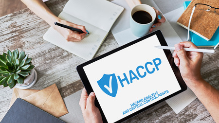 HACCP - Hazard Analysis and Critical Control Point. Standard and certification, quality control management rules for food industry. Foto de archivo