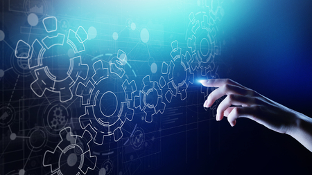 Gears mechanism on virtual screen. Automation and business process flow. Business and technology concept.