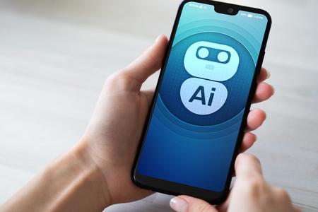 AI Intelligenza artificiale Concetto di apprendimento automatico profondo. Icona del robot sullo schermo del telefono cellulare.