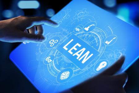 Schlankes, Six-Sigma-, Qualitätskontroll- und Herstellungsprozess-Management-Konzept auf virtuellem Bildschirm.