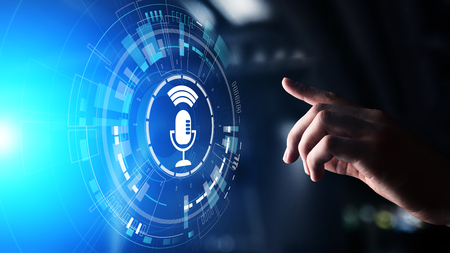 Voice recognition search and control microphone symbol on virtual screen.
