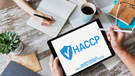 HACCP - Hazard Analysis and Critical Control Point. Standard and certification, quality control management rules for food industry. 스톡 콘텐츠