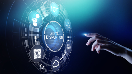 Digital Disruption. Disruptive business ideas. IOT internet of things, network, smart city and machines, big data, cloud, analytics, web-scale IT, Artificial intelligence, AI. Archivio Fotografico