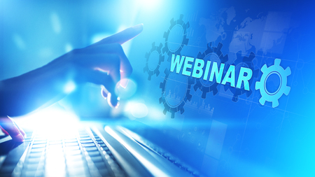 Webinar, Online training, Education and E-learning concept on virtual screen.