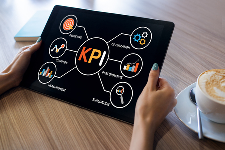 Indicateur de performance clé KPI. Concept de stratégie de marketing d'entreprise de fabrication industrielle.