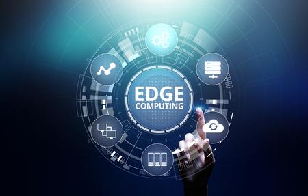 Edge Computing moderne IT-Technologie auf virtuellem Bildschirmkonzept