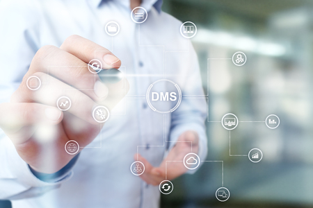 DMS Data management system structure. Document flow and information storage. Stock Photo
