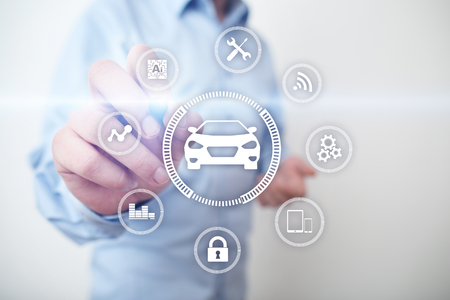 Intelligent car, AI vehicle, smart card. Symbol of the car and icon. Modern wireless communication and IOT concept.