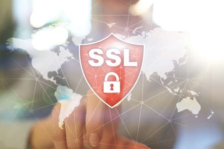 SSL Secure Sockets Layer, a computing protocol. Security of data sent via the Internet by using encryption. Imagens