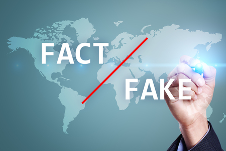 Fake news in media. Manipulation technology. Business and Internet concept on virtual screen.