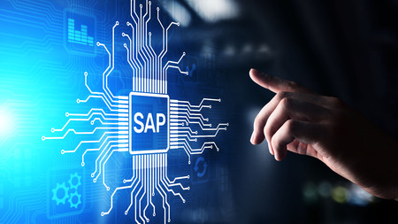 SAP - Business process automation software. ERP enterprise resources planning system concept on virtual screen. Stock Photo