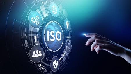 Standardy ISO, zapewnienie kontroli jakości, gwarancja, koncepcja technologii biznesowej.