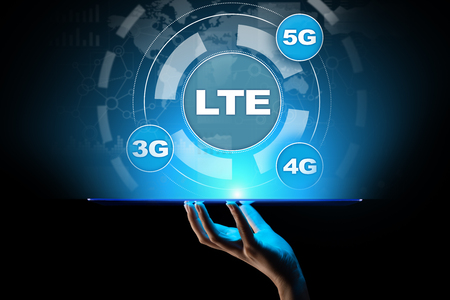 LTE band, mobile internet and telecommunication technology concept on virtual screen.