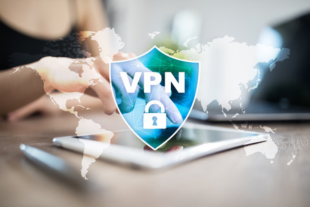 VPN Virtual Private network protocol. Cyber security and privacy connection technology. Anonymous Internet.