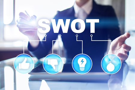 swot analysis concept  - a study by an organization to identify its internal strengths, weaknesses, as well as its external opportunities and threats. Stock Photo