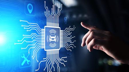 IOT de coche inteligente y concepto de tecnología de automatización moderna en pantalla virtual.