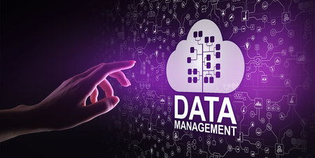Data management system, cloud technology, Internet and business concept. 写真素材