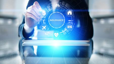 Insurance, health family car money travel Insurtech concept on virtual screen. Stockfoto
