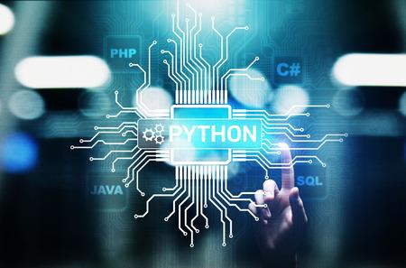 Python high-level programing language. Application and web development concept on virtual screen. Archivio Fotografico