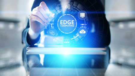 Edge computing modern IT technology on virtual screen concept