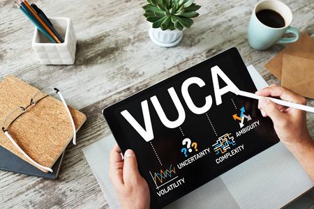 Concept mondial VUCA à l'écran. Volatilité, incertitude, complexité, ambiguïté.