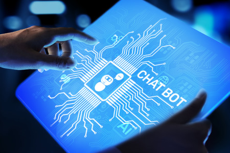 Chatbot computer program designed for conversation with human users over the Internet. Support and customer service automation technology concept.