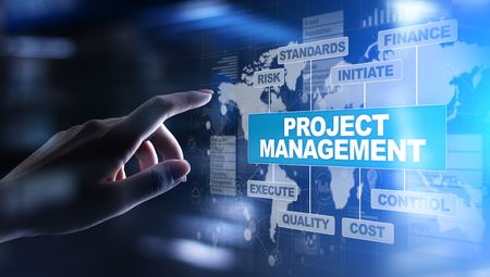 Project management diagram on virtual screen. Business, Finance and technology concept.
