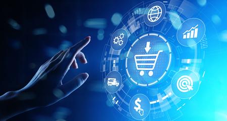 E-Commerce, concept d'entreprise Internet à découper en ligne sur écran virtuel.