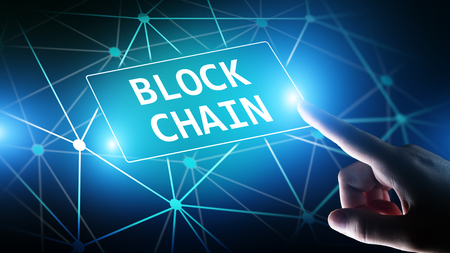 Blockchain technology concept on virtual screen. Cryptography and cryptocurrency. Stock Photo