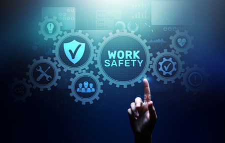 Work safety instruction standards law insurance industrial technology and regulation concept. 写真素材 - 117623667