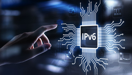 Ipv6 network protocol standard internet communication concept on virtual screen. Stok Fotoğraf