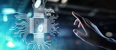 Digital twin business and industrial process modelling. innovation and optimisation. Stock fotó