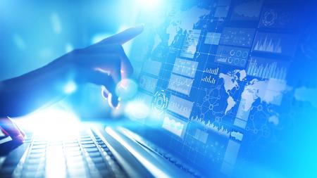 Panel de inteligencia empresarial con gráficos e iconos. Big data. Comercio e inversión. Concepto de tecnología moderna en pantalla virtual.