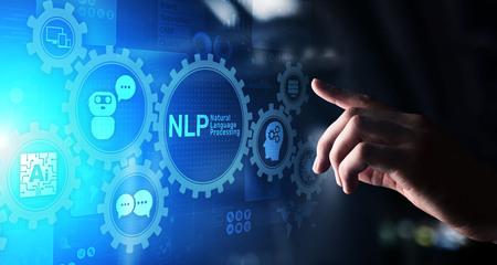 Concepto de tecnología de computación cognitiva de procesamiento de lenguaje natural de PNL en pantalla virtual.