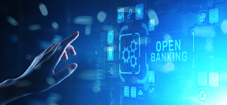 Open banking financial technology fintech concept on virtual screen. Banco de Imagens