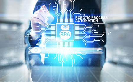 Concept de technologie d'innovation d'automatisation de processus robotique RPA sur écran virtuel.