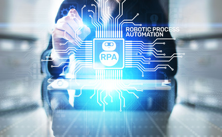 RPA Robotic process automation innovation technology concept on virtual screen. Archivio Fotografico