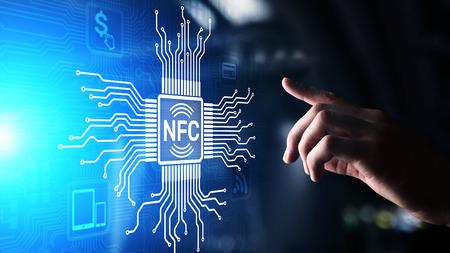 NFC Wireless communication technology Digital payment concept.