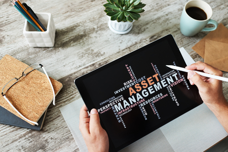 Asset management words cloud on screen. FInancial and Business concept.